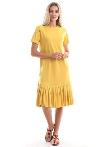 Cottonmood 9303044 Süprem Eteği Pliseli Kısa Kol Elbise Lila Hardal